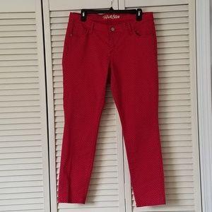 Old Navy Red/Beige Rock Star Jeans Women's Size 14